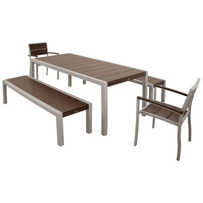 Trex Outdoor Surf City 5 Piece Bench Dining Set Color: Textured Silver / Vintage Lantern - http://diningsetspot.com/trex-outdoor-surf-city-5-piece-bench-dining-set-color-textured-silver-vintage-lantern-589191749/