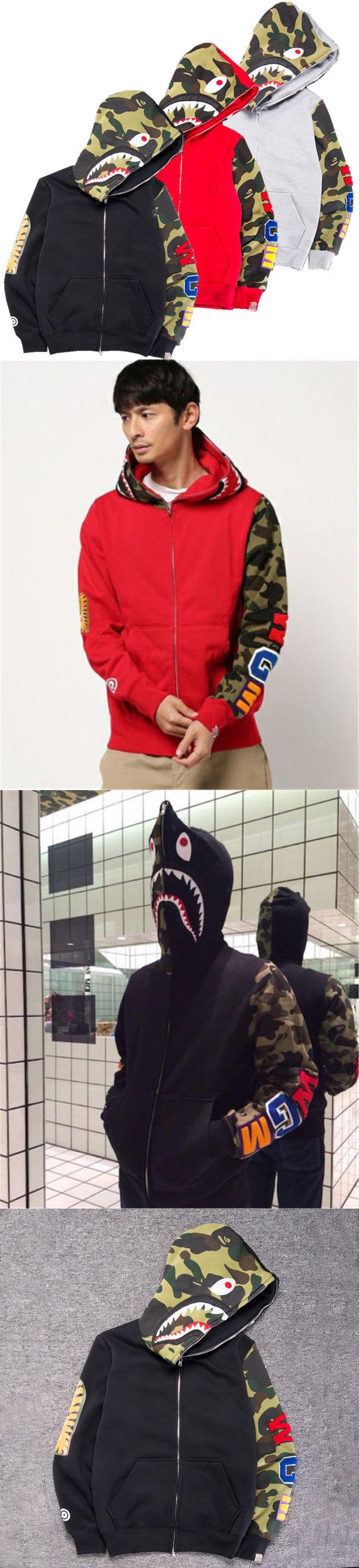 Sweats and Hoodies 155183: Hot Bape A Bathing Ape Men S Jacket Shark Head Full Zip Hoodie Sweater Coat -> BUY IT NOW ONLY: $37.59 on eBay!