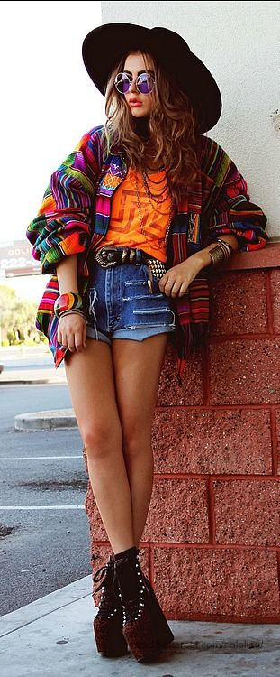 Street style---shorts not that short and not platform boots.  Love the colors. HAT...OHHHH.