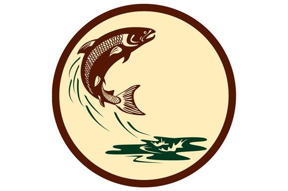 Atlantic Salmon Fish Jumping Water R - Illustrations - 1