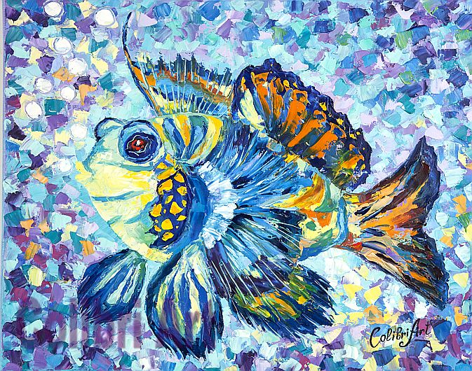 "Original Handmade Oil Painting The Magic Fish 16"" x 20"" Gallery Canvas Multicolor Impasto by Colibri Art Materials: canvas on stretcher, oil paints, palette knife Painting  Oil  oil painting  colorful painting  original painting  painting for gift  pastose painting painting nursery  impressionism  texture  fish  water  bubbles  colorful  magic"