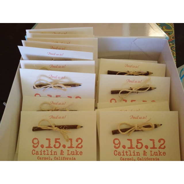 """Letterpress save the dates """"pencil us in"""".  Combo of cute ideas...letterpress and """"pencil us in"""""""