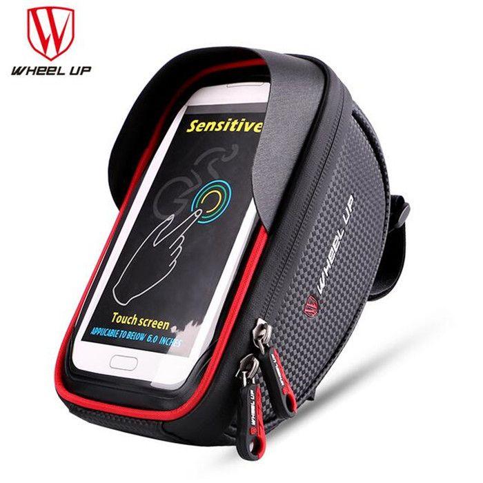 check price wheel up waterproof bike saddle bag front touch cycling top tube frame handlebar bag for 6 0 #handlebar #bag