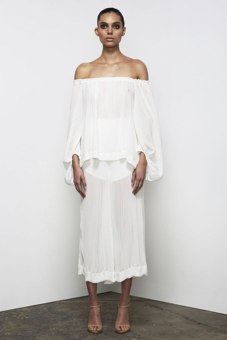 Shona Joy - Cumulus Pleated Off The Shoulder Top  In White