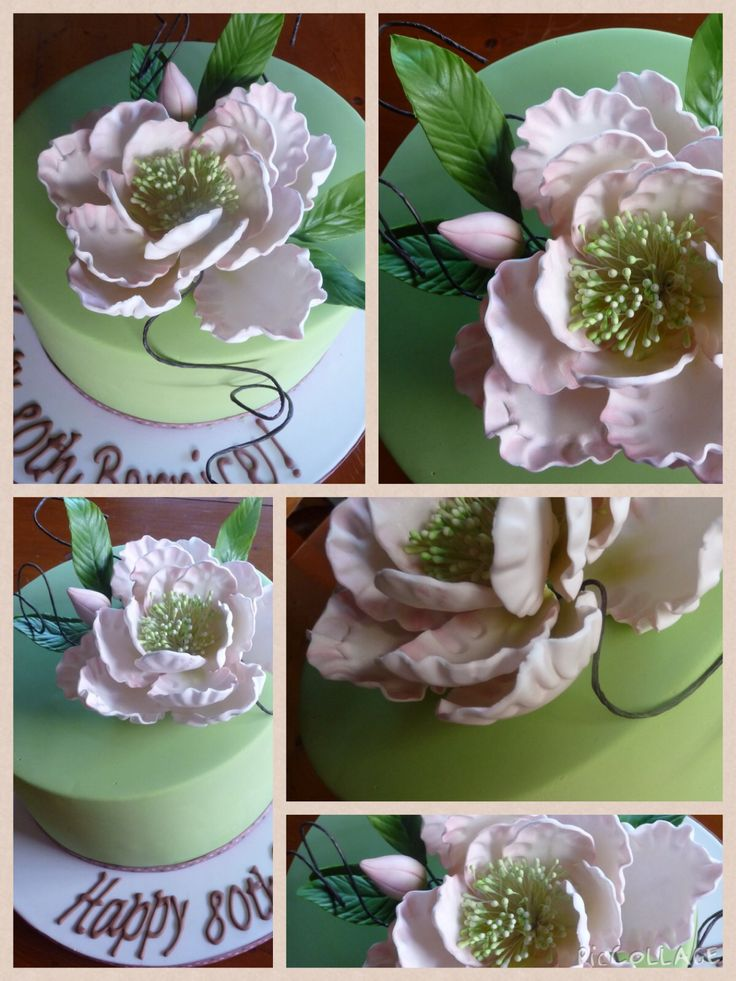Apple green and blush pink Peonie 80th Birthday cake.