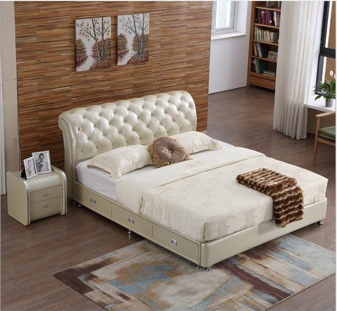 Real Genuine Leather Bed Frame Soft Beds Home Bedroom Furniture