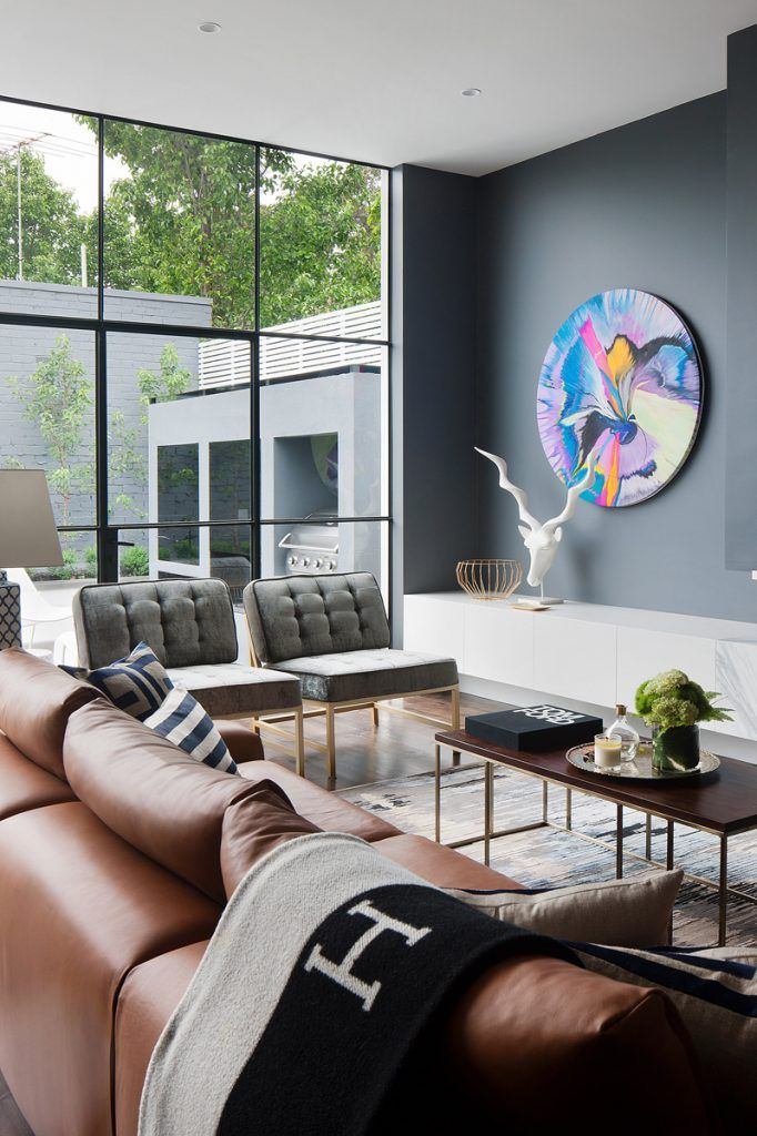 A Moody Masculine Home For An Australian Philanthropist Masculine Living Roomsmodern