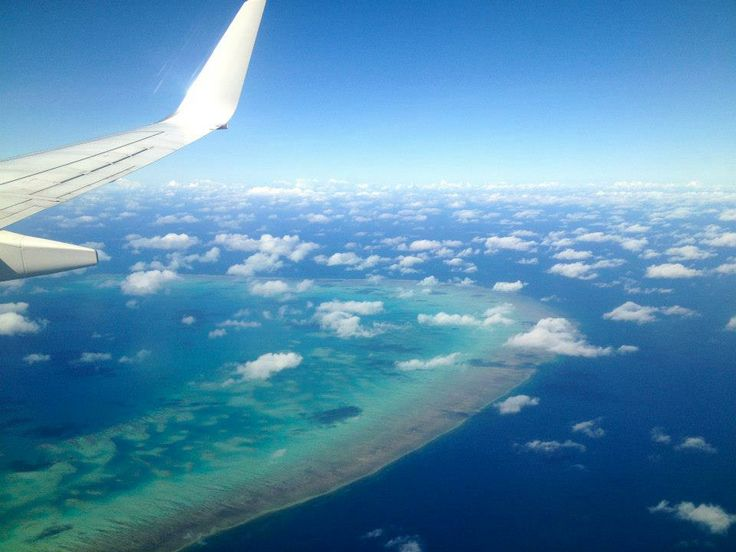 A bird's eye view of the Great Barrier Reef - taken on approach to Cairns Airport