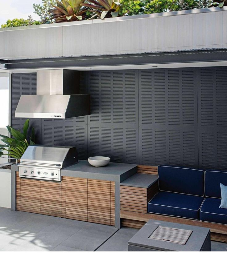 Built In Bbq Area Wood Accents Modern Aloha Outdoors