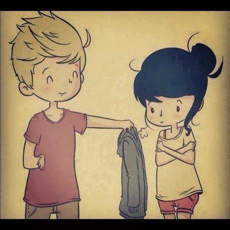 guy share sweater cute couple cartoon love
