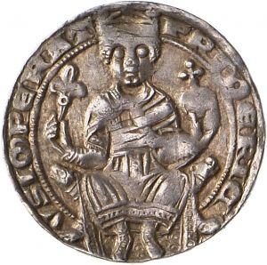 A silver denar coin minted in Frankfurt am Main, Germany, c.1175-80; on the obverse is shown Emperor Frederick I Barbarossa, holding a scepter and orb, symbols of his rulership. (Münzkabinett der Staatlichen Museen Berlin)