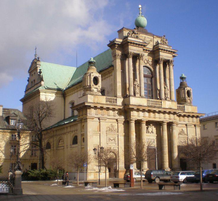 warszawski kościół Karmelitów, barokowa fasada przebudowana na styl klasycystyczny na początku 2 poł XVIII wieku przez Efraima Szregera (Schroeger); ponoć pierwsza fasada w tym stylu w kraju