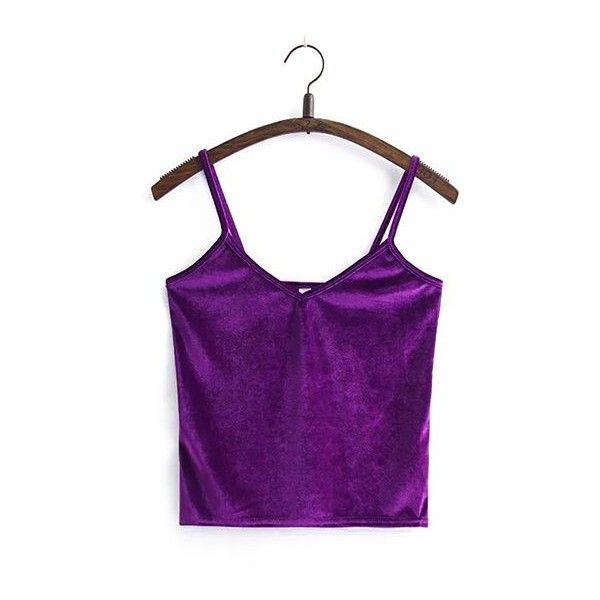 Rotita V Neck Spaghetti Strap Solid Purple Cami Top ($23) ❤ liked on Polyvore featuring tops, purple, purple cami, v neck tank top, short tank tops, purple tank top and v-neck tank