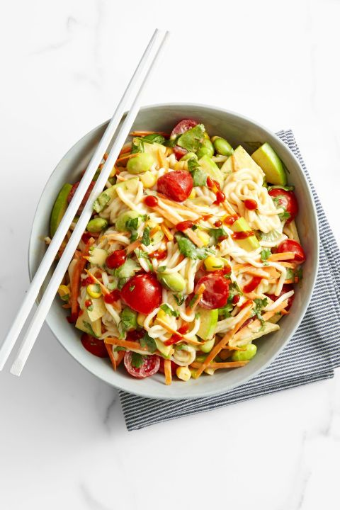 These naturallyvegan and gluten-free noodles are made from yams, and they're super low-cal to boot.  Get the recipe forPeanutty Edamame and Noodle Salad »