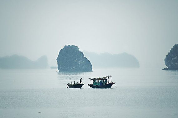 Fisherman with Dog. Early morning, Halong Bay, Vietnam. Fine art travel photography from aroundtheisland on etsy.