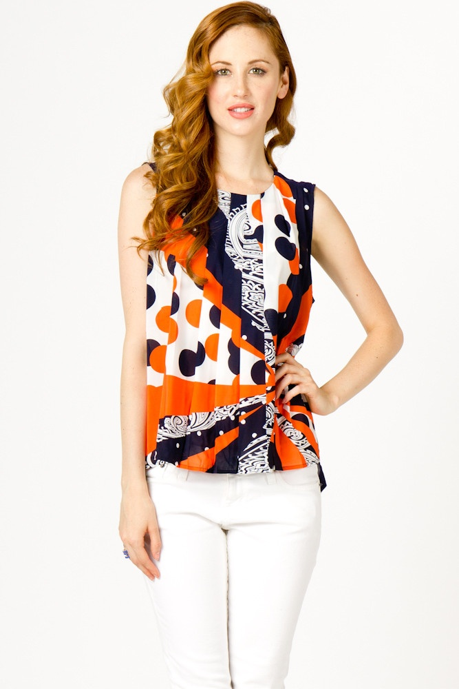 Abstract Pleat Front BlousePleated Front, Abstract Pleated, Front Blouses, Wars Eagles, Style Orange, Blouses Games, Abstract Prints, Abstract Shells, Sleeveless Blouses