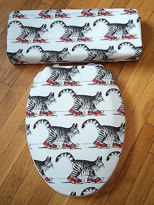 Kliban-Cat-Bathroom-Toilet-Seat-Tank-Lid-Cover-Set