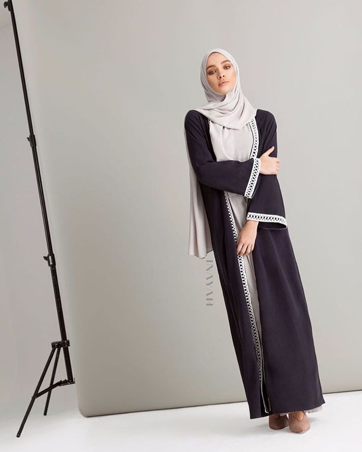 A fusion of ethnic and contemporary style. Dark Navy Kimono with Criss Cross Trim Feather Grey Slip Dress Pair with our Oyster Soft Crepe Hijab www.inayah.co