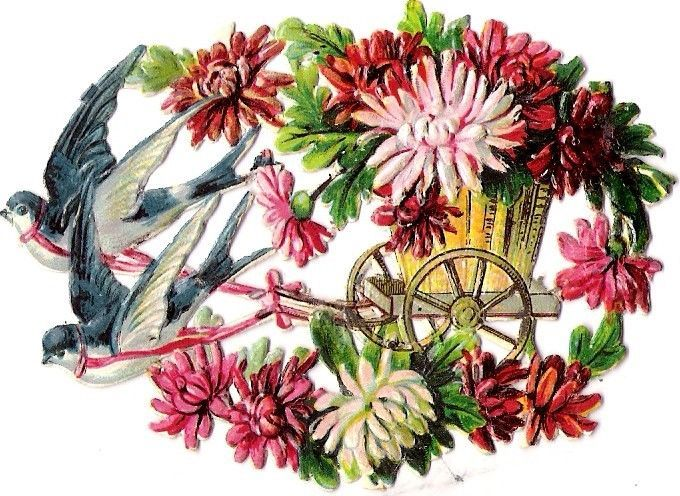 Oblaten Glanzbild scrap die cut  chromo  Schwalben swallow Kutsche coach