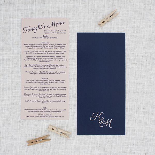 blush pink and navy blue menu