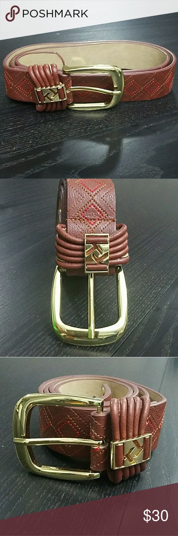 """New Kensie Brown Leather Embroirdered Belt w/Gold New Kensie Brown Leather Belt with Gold Buckle Accents and Embroirdery throughout in Red and Tan. Measures 38"""" long with 5 holds punched for adjustment  size:  31"""" - 36"""" Kensie Accessories Belts"""