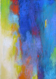 Contemporary Abstract Pastels, Abstraction with Blue and White by Debora L. Stewart