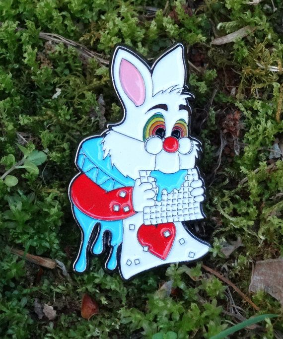 White Rabbit Pin - Trippy Heady Festival Hat Pin psychedelic Sacred Geometry