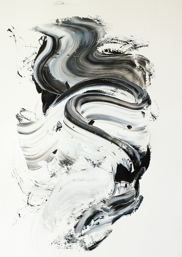 I chose this because it looks like someone took a paintbrush, put more than one colour on the paintbrush, and just made squiggles on the canvas.  It's a very interesting and fluid art piece.