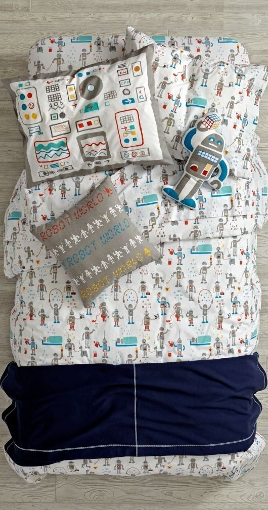 Shop Rad Robot Bedding.  We specifically programmed this robot bedding to be both rad and comfortable.  The colorfully printed robots that adorn the duvet cover definitely make it rad.