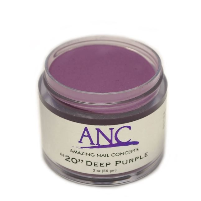 ANC 20 Dip Powder Amazing Nail Concepts 2 oz #20 Deep Purple. ANC Powder - Beautiful, natural look, healthy for your clients, safe for your environment. -Odorless -Gentle for your nail bed -Light Weight -Flexible -Natural Environmentally Friendly -Durable Glossy Finish -Healthy for your natural nails by adding Calcium and Vitamin E.