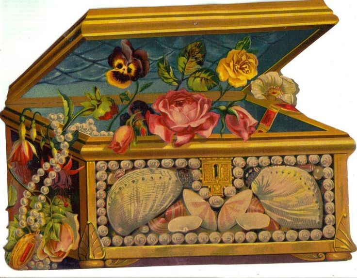Large Victorian Die Cut Scrap Jewelry Box Seashells & Flowers c1880s