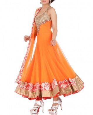 #Exclusivelyin, #IndianEthnicWear, #IndianWear, #Fashion, Flame Orange Anarkali Suit with Embellished Yoke