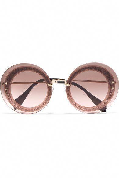 fdfb64ffe0ba MIU MIU Round-Frame Glittered Acetate And Gold-Tone Sunglasses.  miumiu   sunglasses