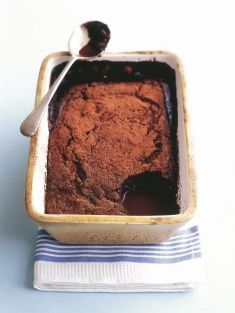 chocolate self-saucing pudding. Add half a block of slightly melted chocolate to the sauce. Try with a shot of coffee