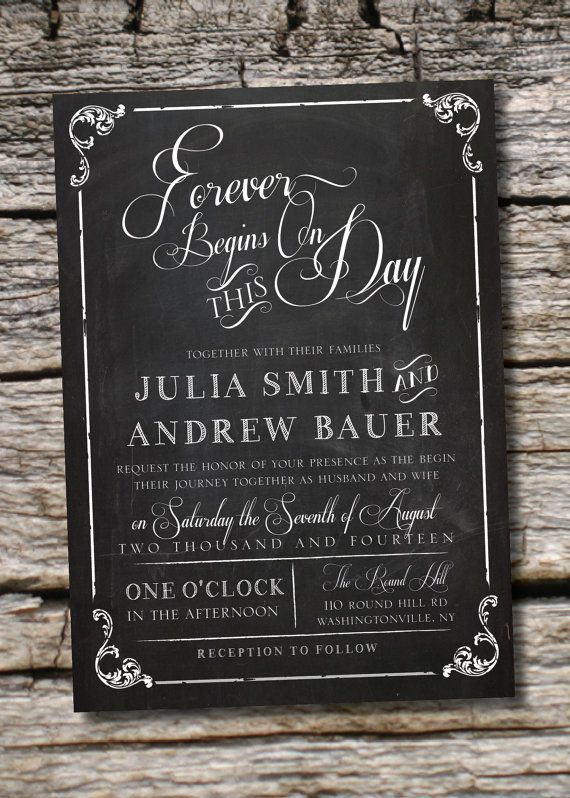 VINTAGE BLACKBOARD Chalkboard Poster Wedding Invitation/Response Card - 100 Professionally Printed Invitations & Response Cards