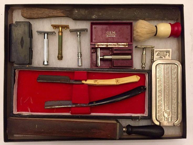 Details About Antique Vintage Barber Shop Shaving Kit Lot