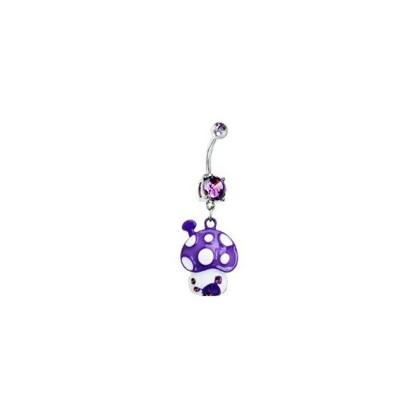 Purple Cubic Zirconia Polka Dot Mushroom Belly Ring   Body Candy Body... (£8.00) ❤ liked on Polyvore featuring jewelry, belly rings, belly button rings, belly bars, piercings, belly ring jewelry, body jewelry, dot jewelry, purple jewellery and purple jewe