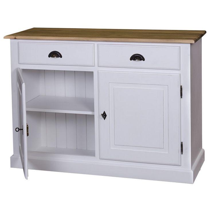 credenza bassa 2 cassetti e 2 ante in legno massello finitura personalizzabile shabby chic, provenzale, bianco decapato colorato e decorato