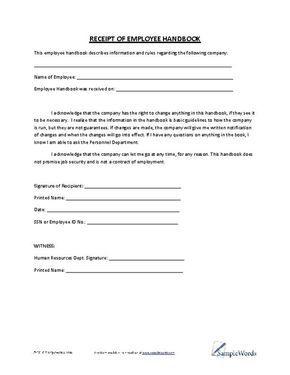 Receipt of Employee Handbook
