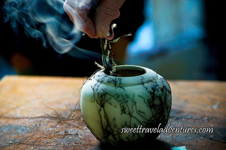 Smoke and Carbon Trails Made From Burning Feather in Horse Hair Raku at Studio Rose in Haliburton Highlands, Ontario