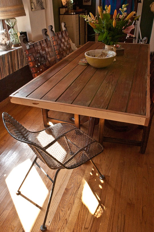 Dining Room Table Made Of Old Redwood Door W Vintage Legs Paired With Sweet
