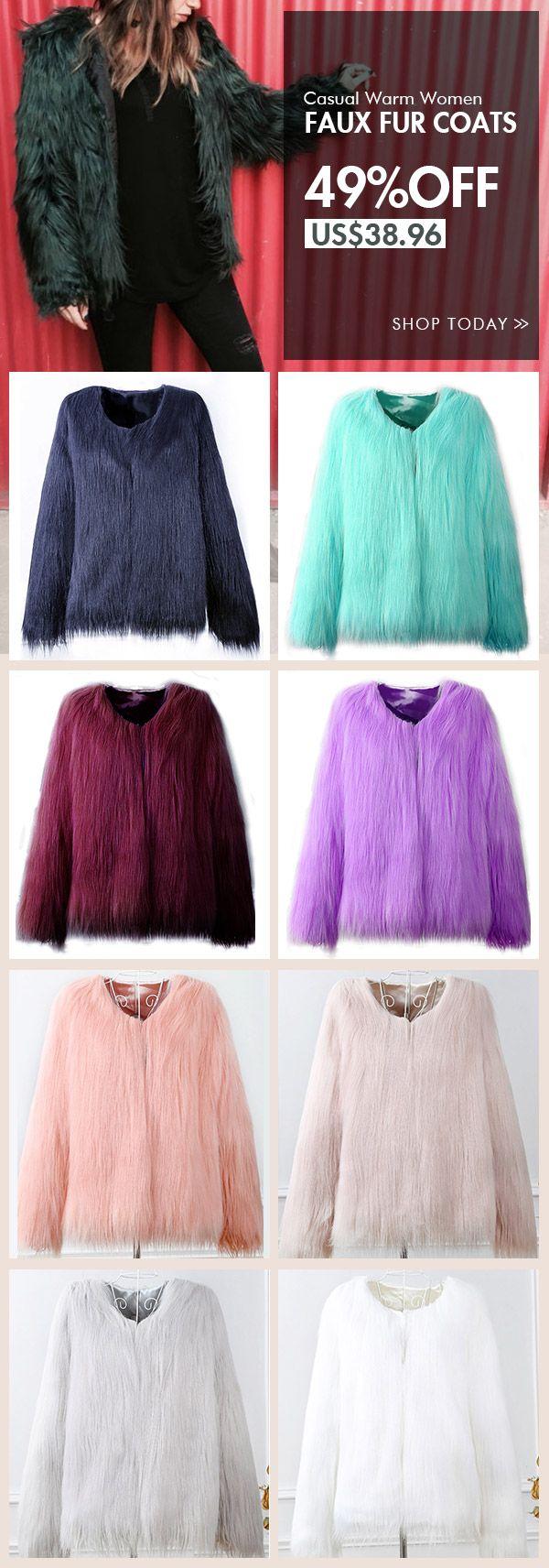 [Newchic Online Shopping] 49%OFF Casual Warm Women Faux Fur Coats
