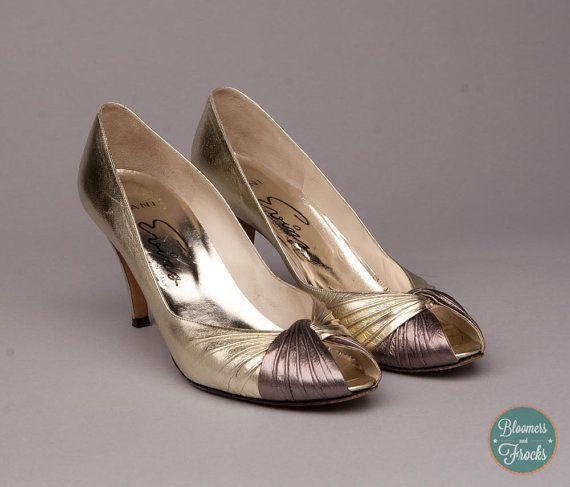 Vintage Gold Peep Toe Heels from Evins from BloomersAndFrocks on Etsy