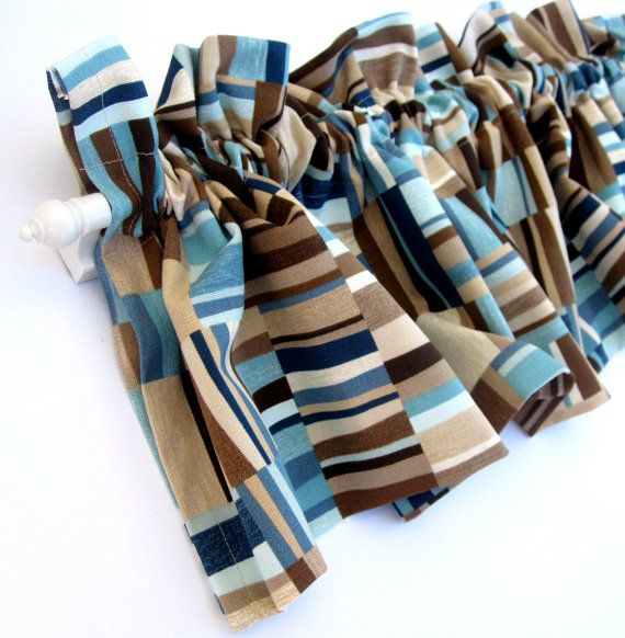 FOCUS Valance Curtains Brown Tan Blue Teal Stripes  by bananabunch, $24.00