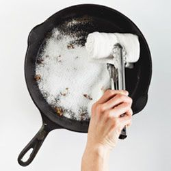 How to clean your cast iron pan from Bon Appetit. It still grosses me out a bit that you're not supposed to clean these babies with soap and water, but that's how they're built to work! I make flan in mine and it turns out so much better than in any other pan I've used.