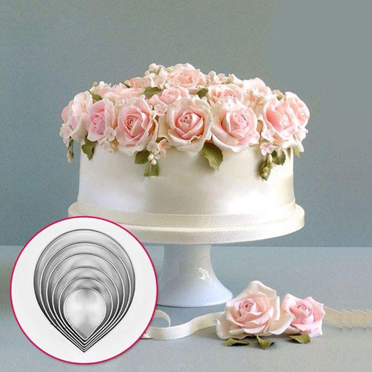 6x лепесток розы печенья обледенения нержавеющей стали плесень торт украшение выпечки плесень Sugarcraft DIY * обледенение фрезы купить на AliExpress