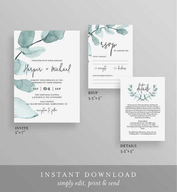 Wedding Invitation Template, Eucalyptus Greenery, INSTANT DOWNLOAD, 100% Editable Text, Printable Invite, RSVP & Details, Modern, Boho #049A