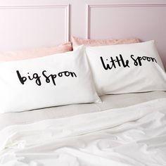 These simple and bold big spoon and little spoon pillow cases make a great bed decor ♥ Follow de latest designs on home accessories. | Visit us at http://www.dailydesignews.com/   #homedecor #interiors #homedecoration #homefurniture #designroom #curateddesign #celebratedesign #homeaccessories