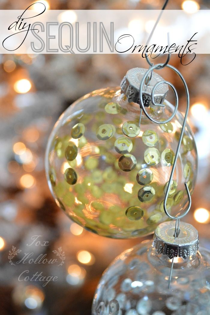 DIY:: Glass Christmas Tree Ornament with Sequins - Mixed Metals in Gold and Silver #christmasornament #christmasdecoratingideas