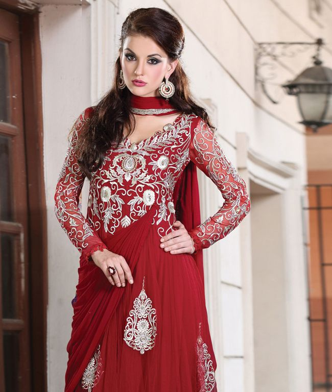 Find solace in ultimate elegance with fashionandyou.com as it brings to you this exquisite collection of Anarkali suits from Chhabra. Featuring subtle touches of glamour and feminity, each piece from this collection is exactly what you need and more to turn heads and capture everyone's undivided attention.BRAND: ChhabraCATEGORY: Unstitched Suit with Dupatta and InnerARTICLECOLOURMATERIALLENGTHTopRed Georgette3.50 metersBottomRed Crepe2.40 metersDupattaRed Chiffon2.40 metersInnerRed ...